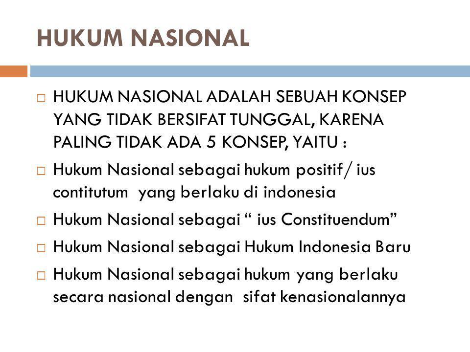 HUKUM NASIONAL HUKUM NASIONAL ADALAH SEBUAH KONSEP YANG TIDAK BERSIFAT TUNGGAL, KARENA PALING TIDAK ADA 5 KONSEP, YAITU :