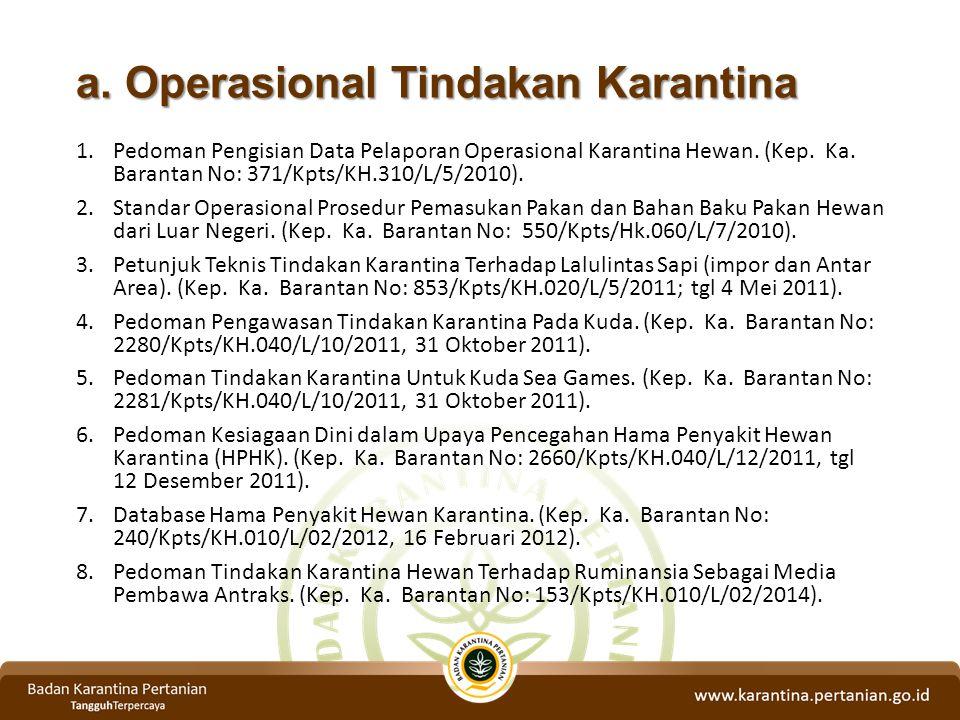 a. Operasional Tindakan Karantina