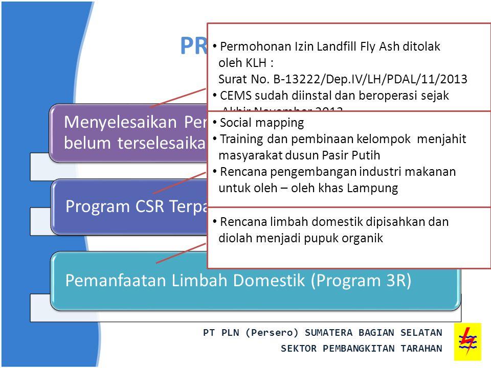 PROGRAM PROPER Permohonan Izin Landfill Fly Ash ditolak. oleh KLH : Surat No. B-13222/Dep.IV/LH/PDAL/11/2013.