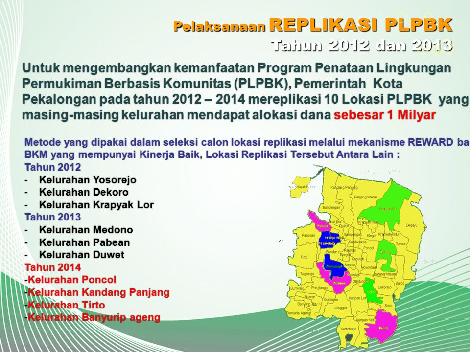 Tahun 2012 dan 2013 Pelaksanaan REPLIKASI PLPBK