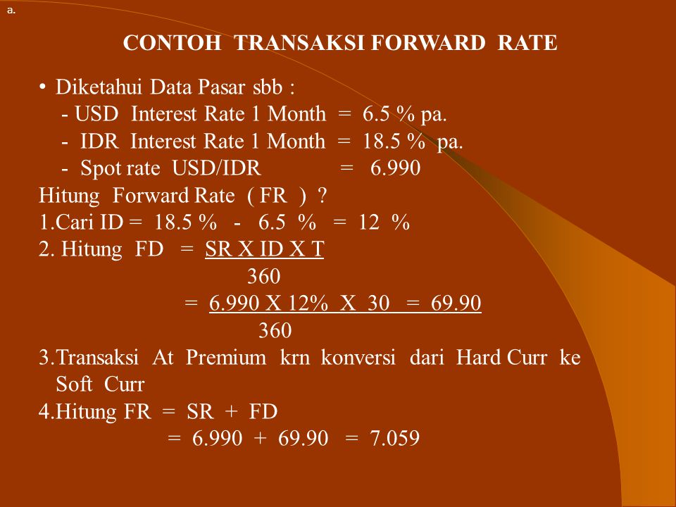CONTOH TRANSAKSI FORWARD RATE