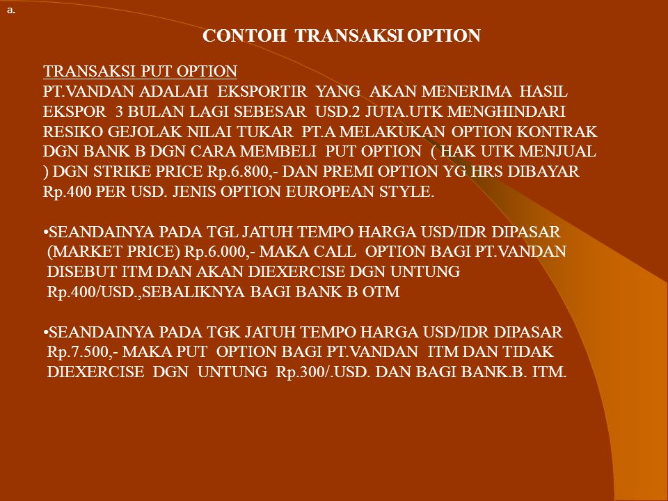 CONTOH TRANSAKSI OPTION