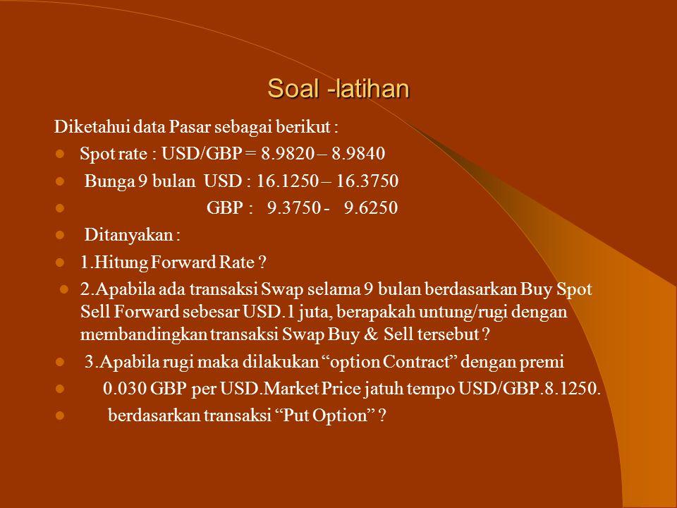 Soal -latihan Diketahui data Pasar sebagai berikut :