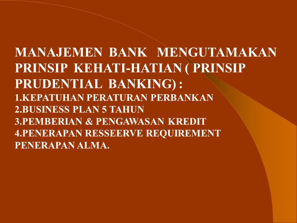 MANAJEMEN BANK MENGUTAMAKAN PRINSIP KEHATI-HATIAN ( PRINSIP
