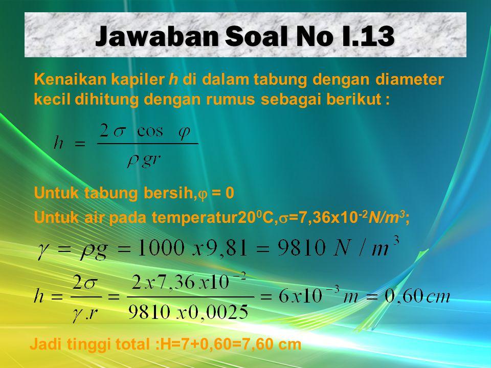 Jawaban Soal No I.13 Kenaikan kapiler h di dalam tabung dengan diameter kecil dihitung dengan rumus sebagai berikut :