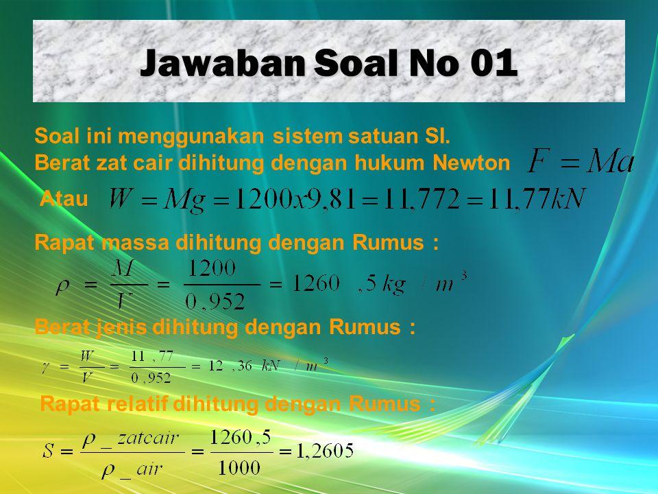 Jawaban Soal No 01 Soal ini menggunakan sistem satuan SI.