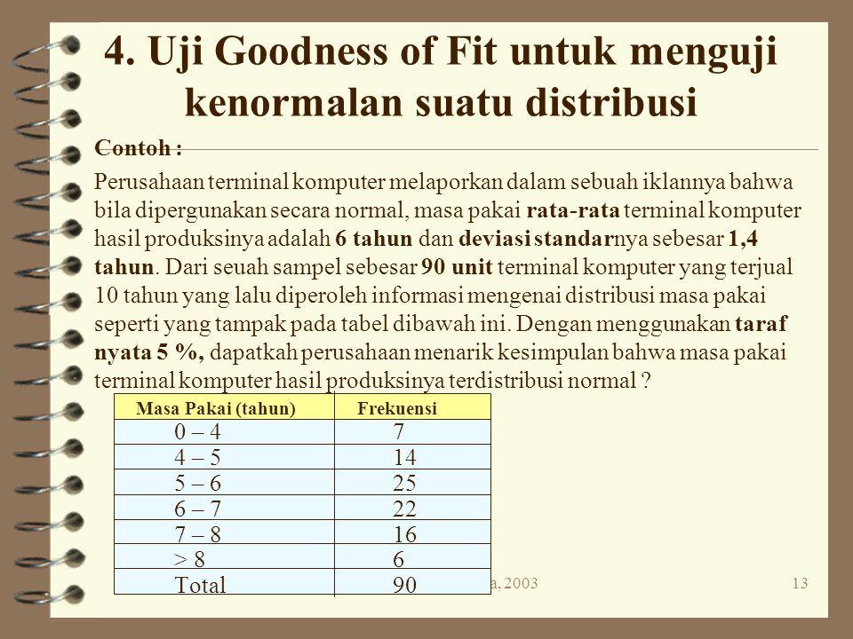 4. Uji Goodness of Fit untuk menguji kenormalan suatu distribusi