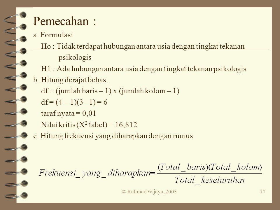 Pemecahan : a. Formulasi