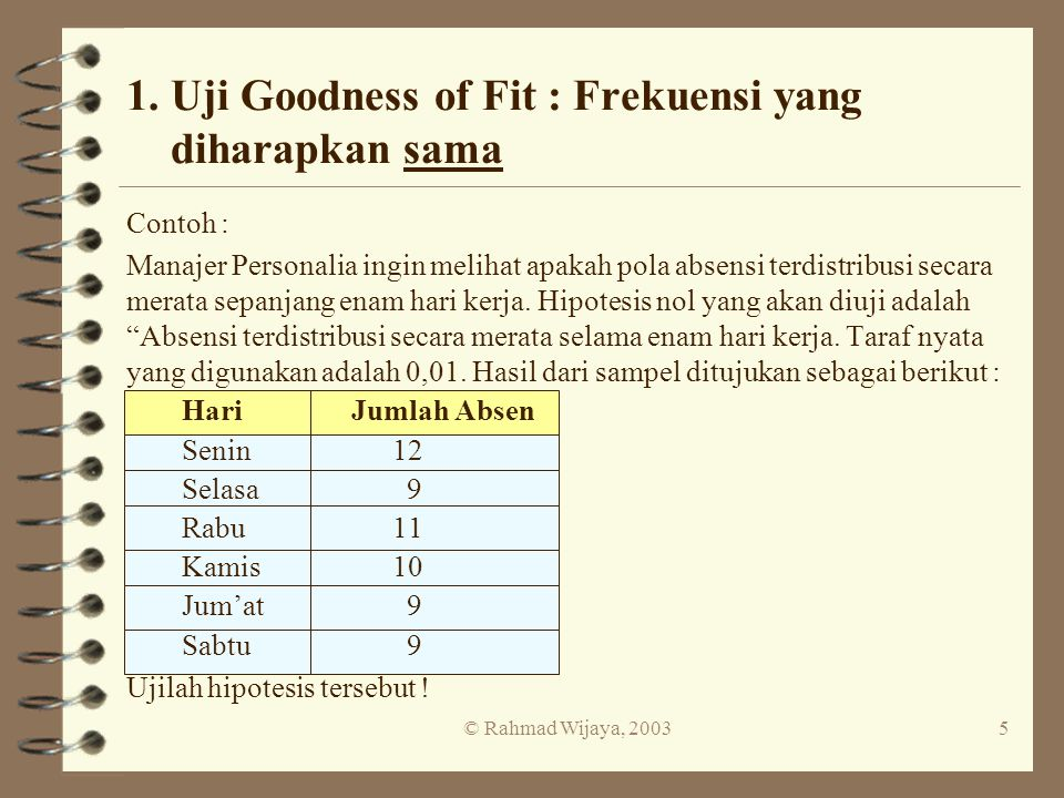 1. Uji Goodness of Fit : Frekuensi yang diharapkan sama