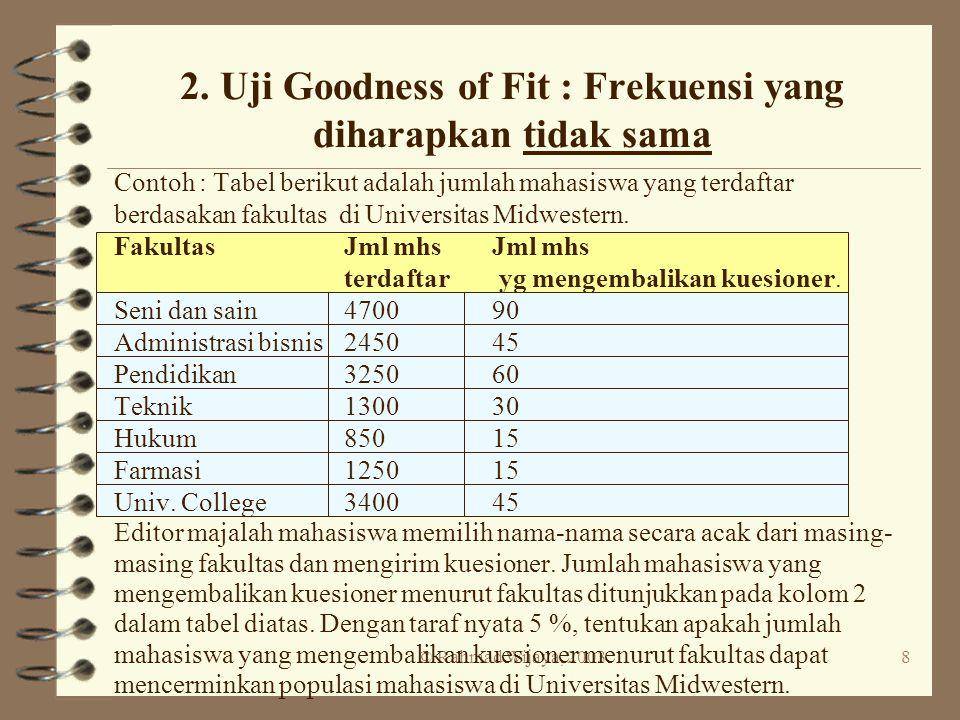 2. Uji Goodness of Fit : Frekuensi yang diharapkan tidak sama