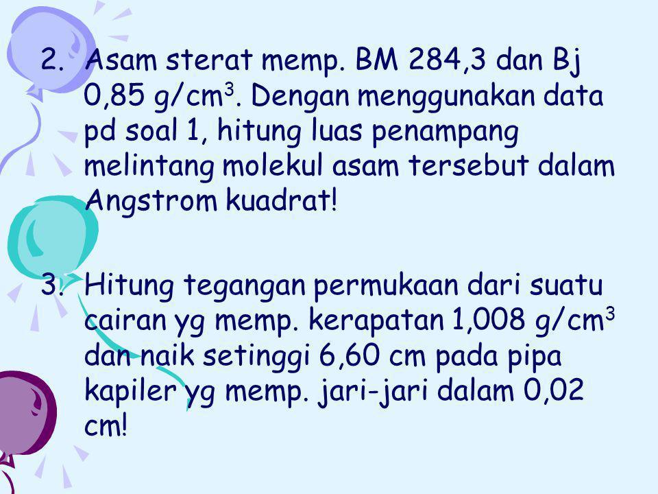 Asam sterat memp. BM 284,3 dan Bj 0,85 g/cm3