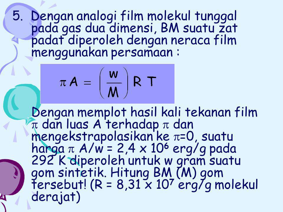 5. Dengan analogi film molekul tunggal pada gas dua dimensi, BM suatu zat padat diperoleh dengan neraca film menggunakan persamaan :
