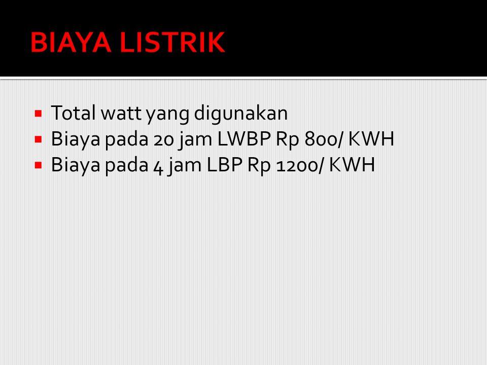 BIAYA LISTRIK Total watt yang digunakan
