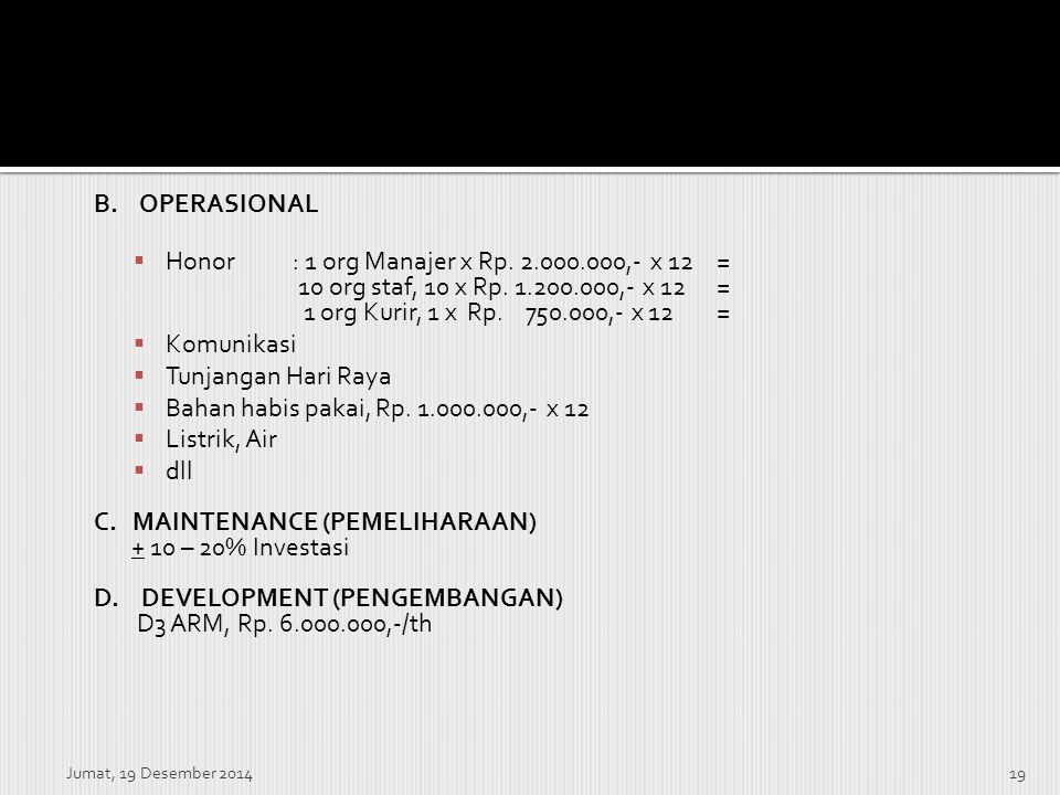 Honor : 1 org Manajer x Rp. 2.000.000,- x 12 =