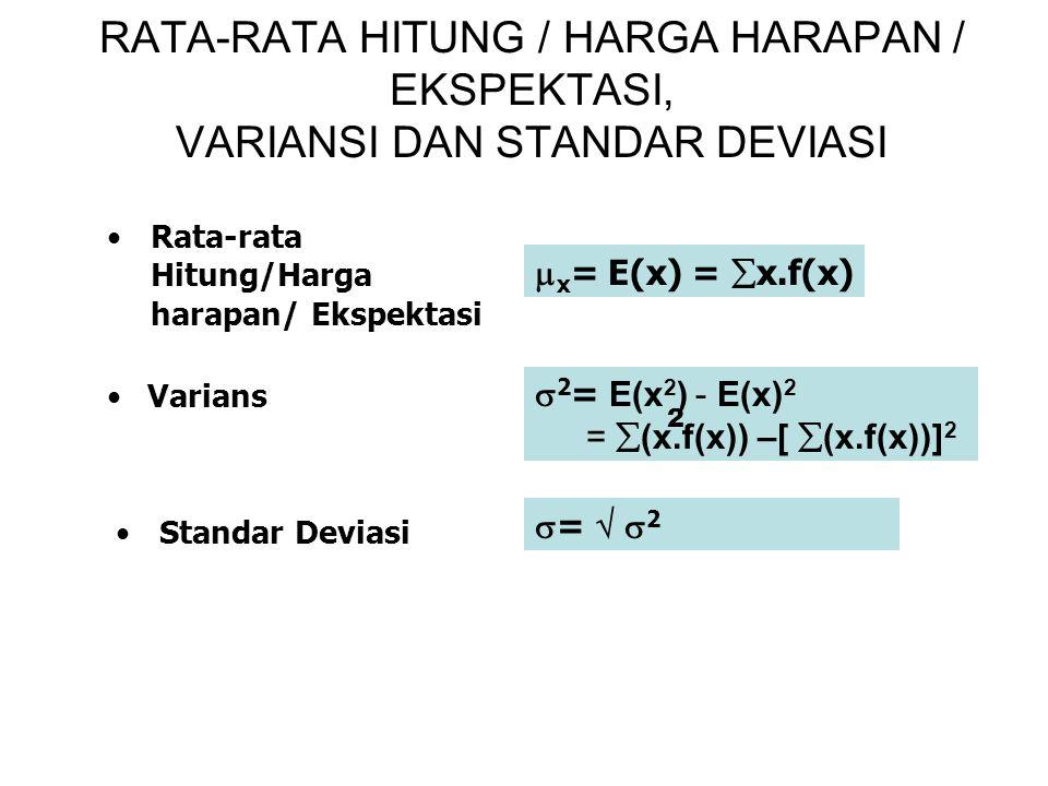 RATA-RATA HITUNG / HARGA HARAPAN / EKSPEKTASI, VARIANSI DAN STANDAR DEVIASI