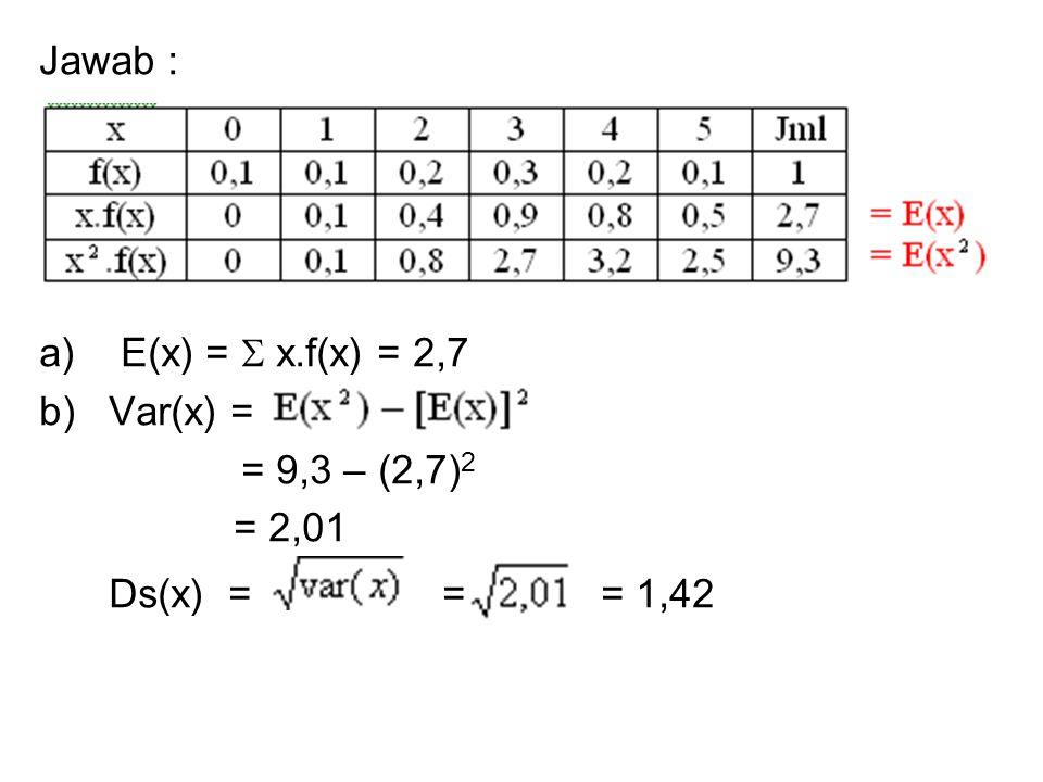 Jawab : a) E(x) =  x.f(x) = 2,7. b) Var(x) = = 9,3 – (2,7)2.