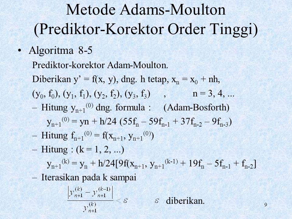 Metode Adams-Moulton (Prediktor-Korektor Order Tinggi)