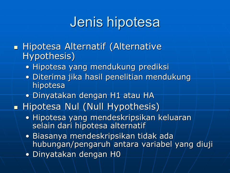 Jenis hipotesa Hipotesa Alternatif (Alternative Hypothesis)