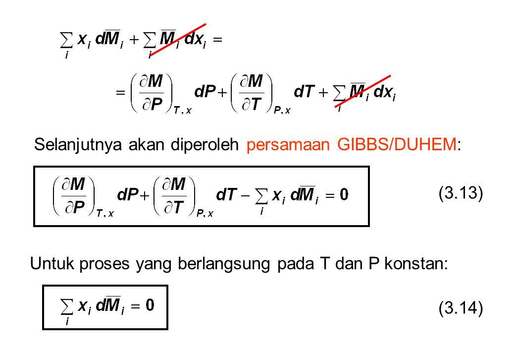 Selanjutnya akan diperoleh persamaan GIBBS/DUHEM: