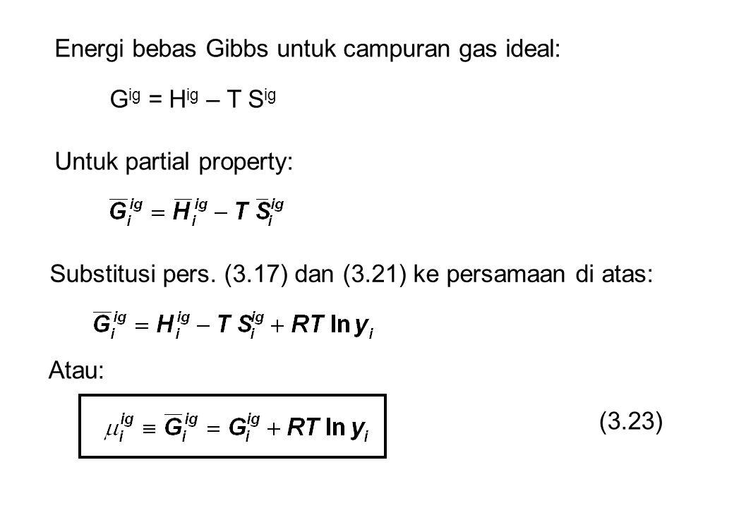 Energi bebas Gibbs untuk campuran gas ideal: