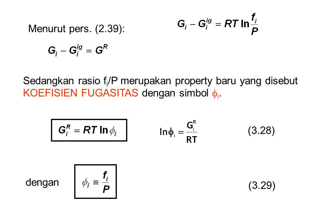 Menurut pers. (2.39): Sedangkan rasio fi/P merupakan property baru yang disebut KOEFISIEN FUGASITAS dengan simbol i.