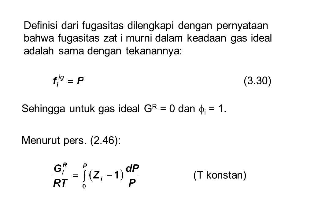 Definisi dari fugasitas dilengkapi dengan pernyataan bahwa fugasitas zat i murni dalam keadaan gas ideal adalah sama dengan tekanannya: