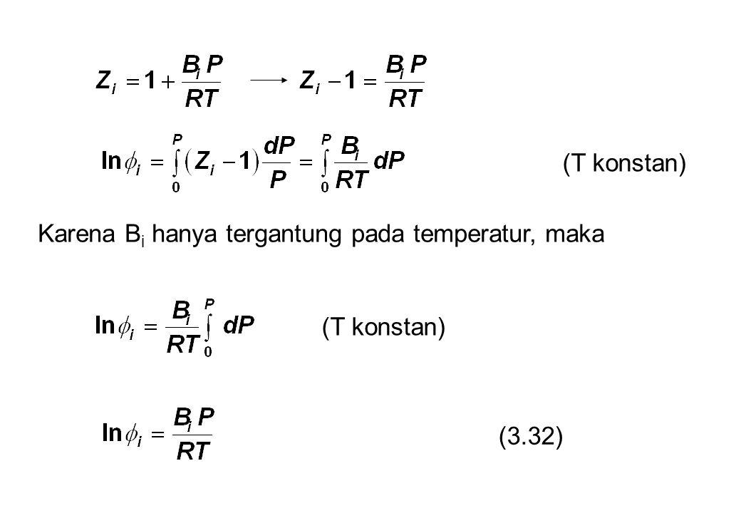 (T konstan) Karena Bi hanya tergantung pada temperatur, maka (T konstan) (3.32)