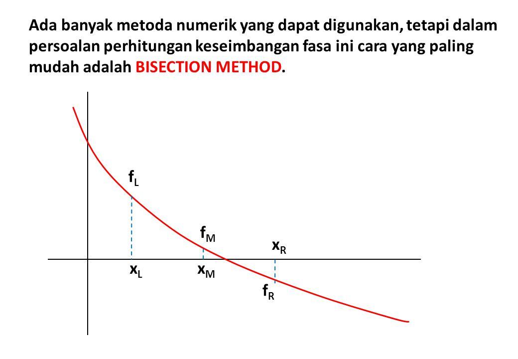 Ada banyak metoda numerik yang dapat digunakan, tetapi dalam persoalan perhitungan keseimbangan fasa ini cara yang paling mudah adalah BISECTION METHOD.