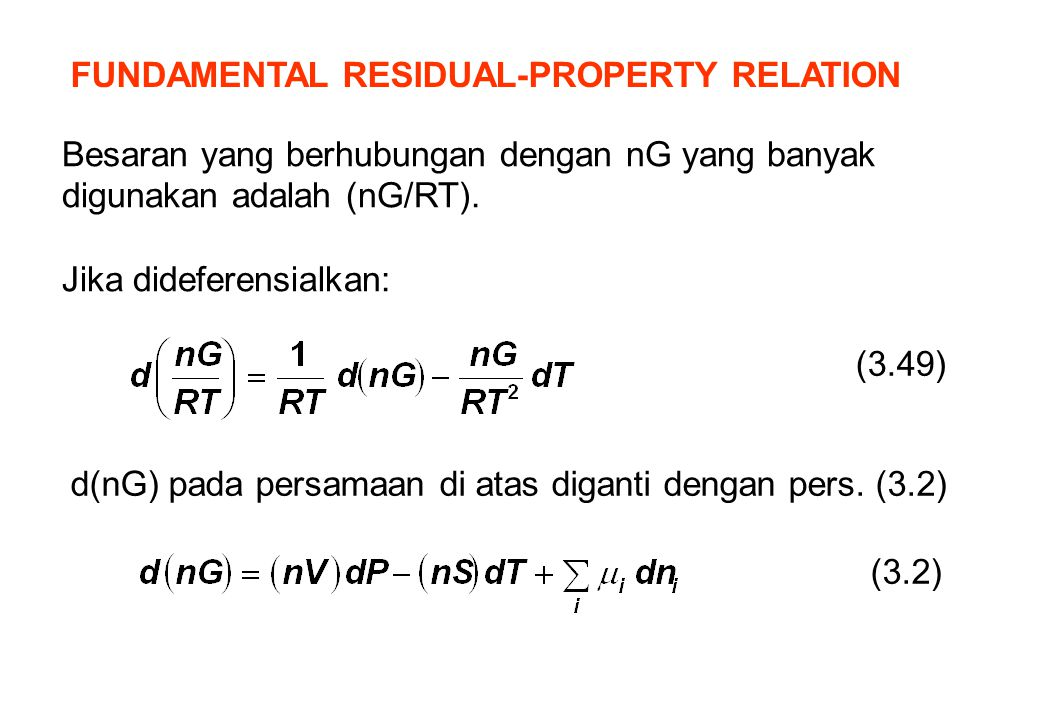 FUNDAMENTAL RESIDUAL-PROPERTY RELATION