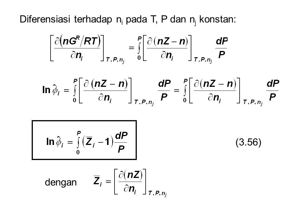 Diferensiasi terhadap ni pada T, P dan nj konstan: