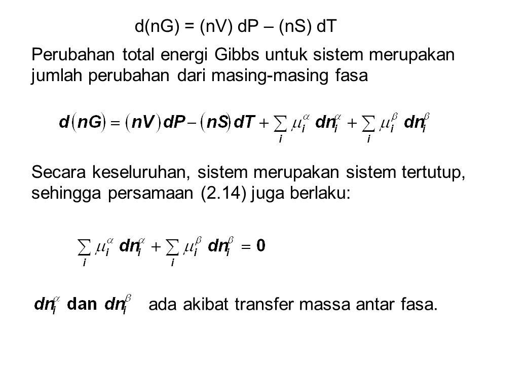d(nG) = (nV) dP – (nS) dT Perubahan total energi Gibbs untuk sistem merupakan jumlah perubahan dari masing-masing fasa.