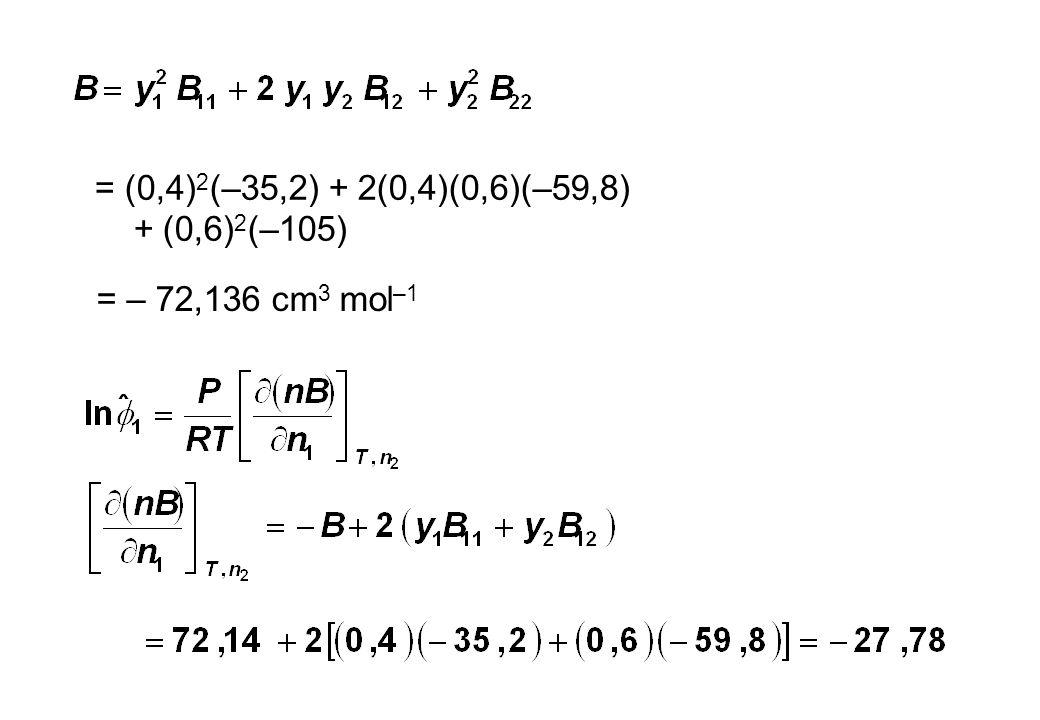 = (0,4)2(–35,2) + 2(0,4)(0,6)(–59,8) + (0,6)2(–105) = – 72,136 cm3 mol–1