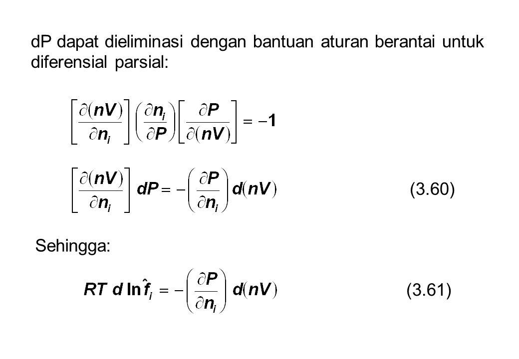dP dapat dieliminasi dengan bantuan aturan berantai untuk diferensial parsial:
