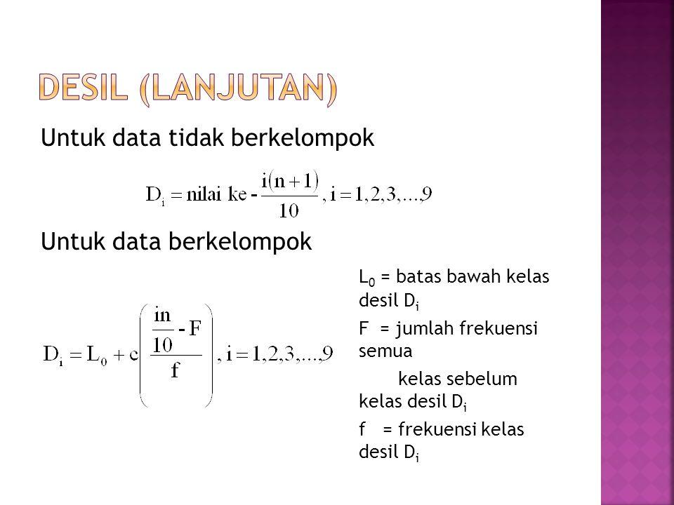 DESIL (lanjutan) Untuk data tidak berkelompok Untuk data berkelompok