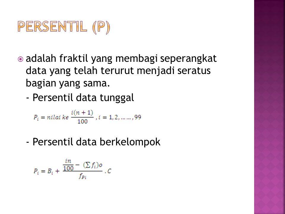 PERSENTIL (P) adalah fraktil yang membagi seperangkat data yang telah terurut menjadi seratus bagian yang sama.