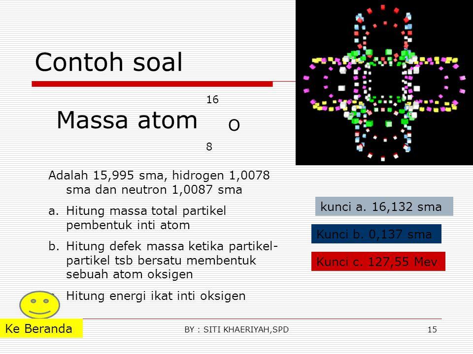Contoh soal 16. O. 8. Massa atom. Adalah 15,995 sma, hidrogen 1,0078 sma dan neutron 1,0087 sma.