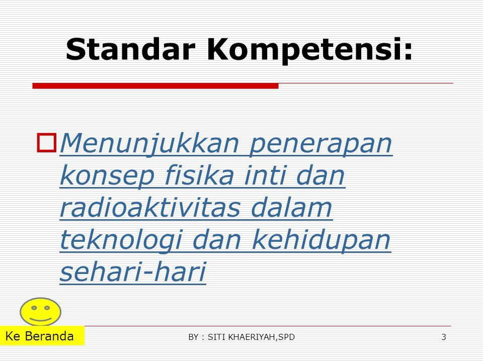 Standar Kompetensi: Menunjukkan penerapan konsep fisika inti dan radioaktivitas dalam teknologi dan kehidupan sehari-hari.