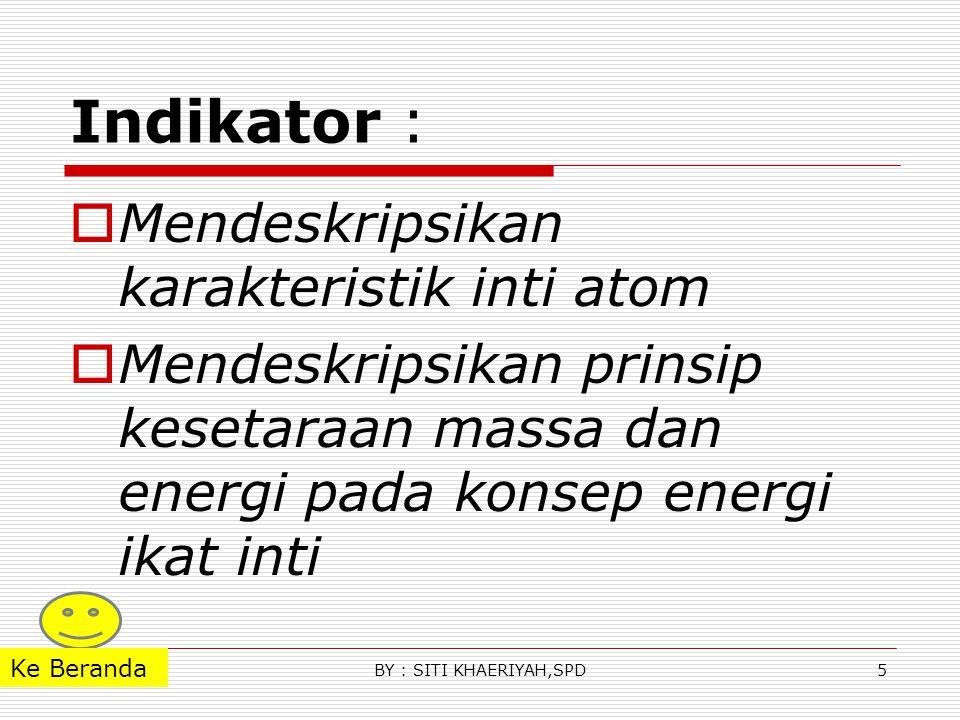 Indikator : Mendeskripsikan karakteristik inti atom