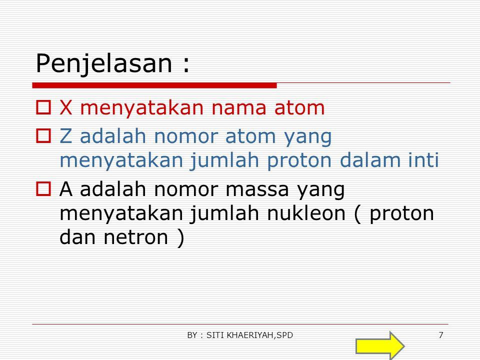 Penjelasan : X menyatakan nama atom