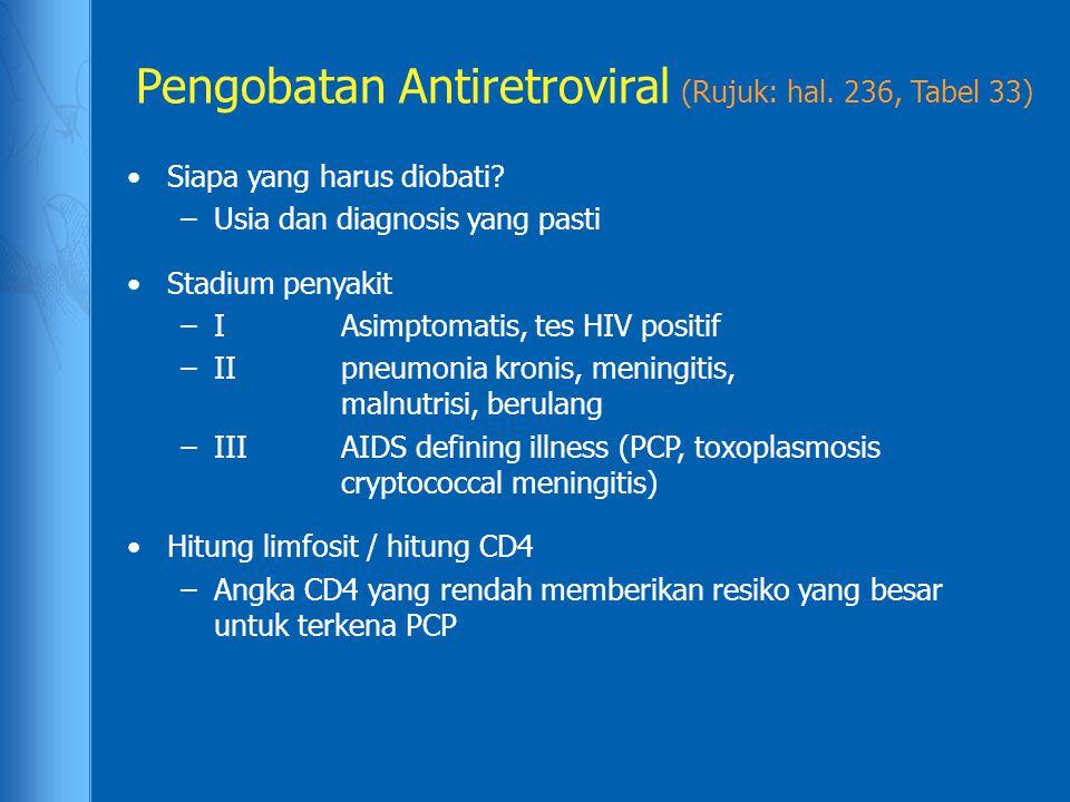Pengobatan Antiretroviral (Rujuk: hal. 236, Tabel 33)