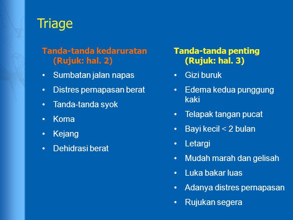 Triage Tanda-tanda kedaruratan (Rujuk: hal. 2) Sumbatan jalan napas