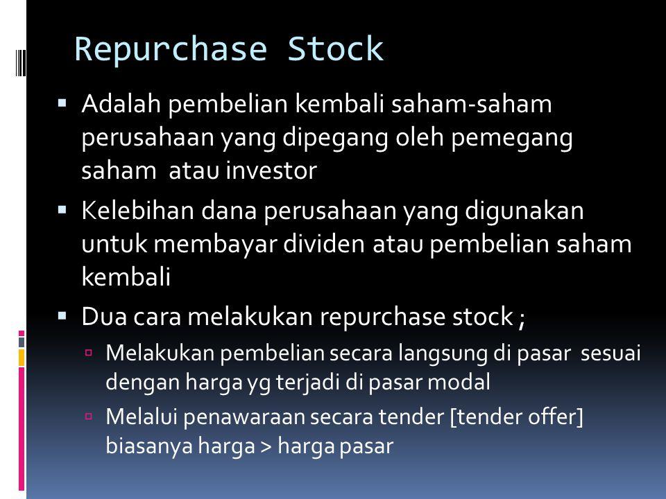 Repurchase Stock Adalah pembelian kembali saham-saham perusahaan yang dipegang oleh pemegang saham atau investor.