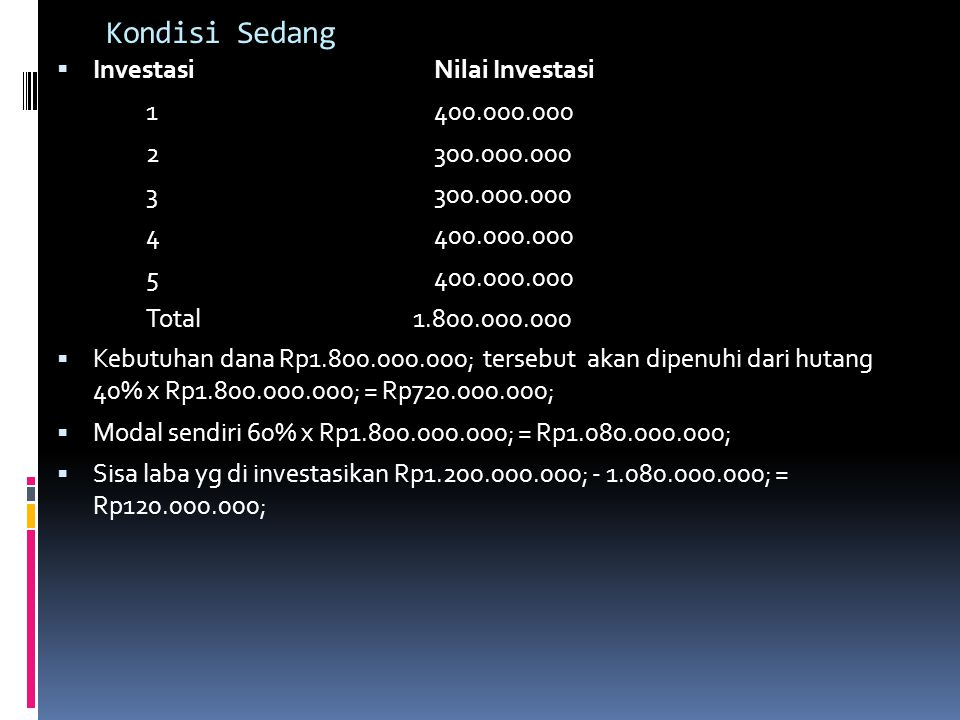 Kondisi Sedang Investasi Nilai Investasi 1 400.000.000 2 300.000.000