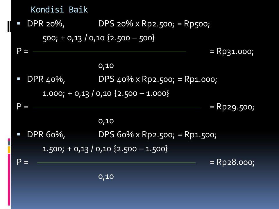 Kondisi Baik DPR 20%, DPS 20% x Rp2.500; = Rp500; 500; + 0,13 / 0,10 {2.500 – 500} P = = Rp31.000;