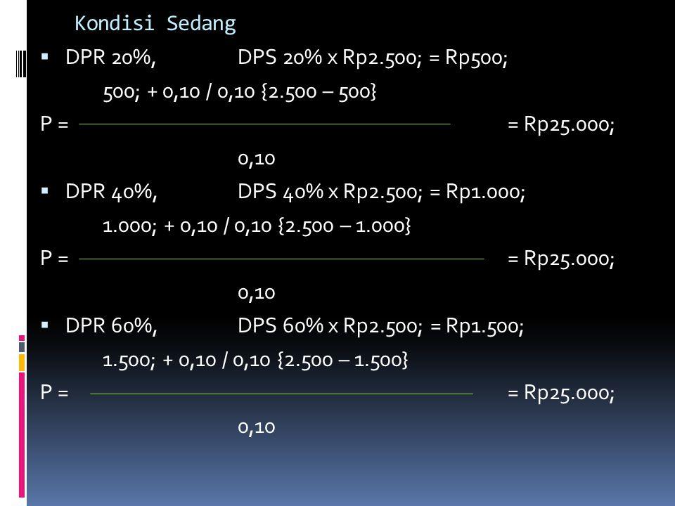 Kondisi Sedang DPR 20%, DPS 20% x Rp2.500; = Rp500; 500; + 0,10 / 0,10 {2.500 – 500} P = = Rp25.000;