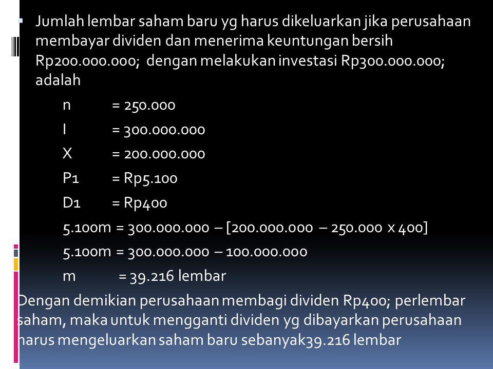Jumlah lembar saham baru yg harus dikeluarkan jika perusahaan membayar dividen dan menerima keuntungan bersih Rp200.000.000; dengan melakukan investasi Rp300.000.000; adalah