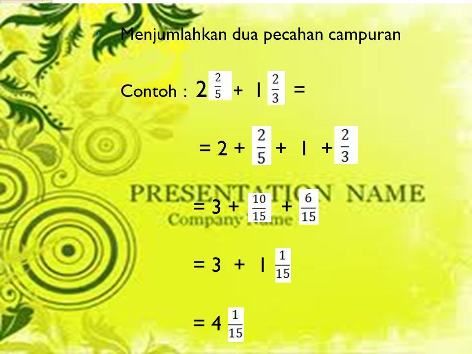 = 2 + + 1 + = 3 + + = 3 + 1 = 4 Menjumlahkan dua pecahan campuran