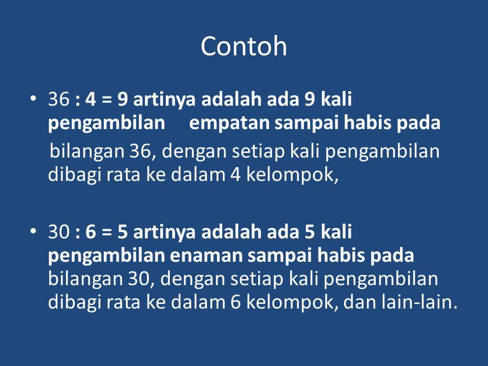 Contoh 36 : 4 = 9 artinya adalah ada 9 kali pengambilan empatan sampai habis pada.