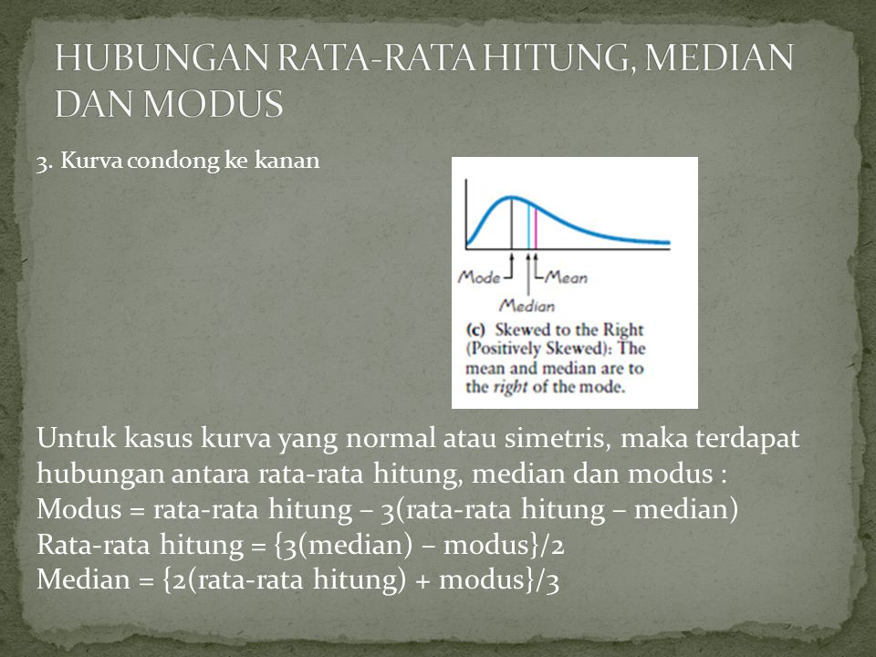 HUBUNGAN RATA-RATA HITUNG, MEDIAN DAN MODUS