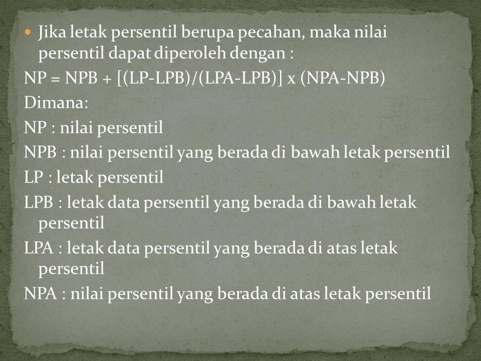 Jika letak persentil berupa pecahan, maka nilai persentil dapat diperoleh dengan :